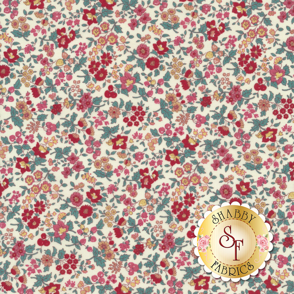 Fabric featuring darling flowers on a white background | Shabby Fabrics