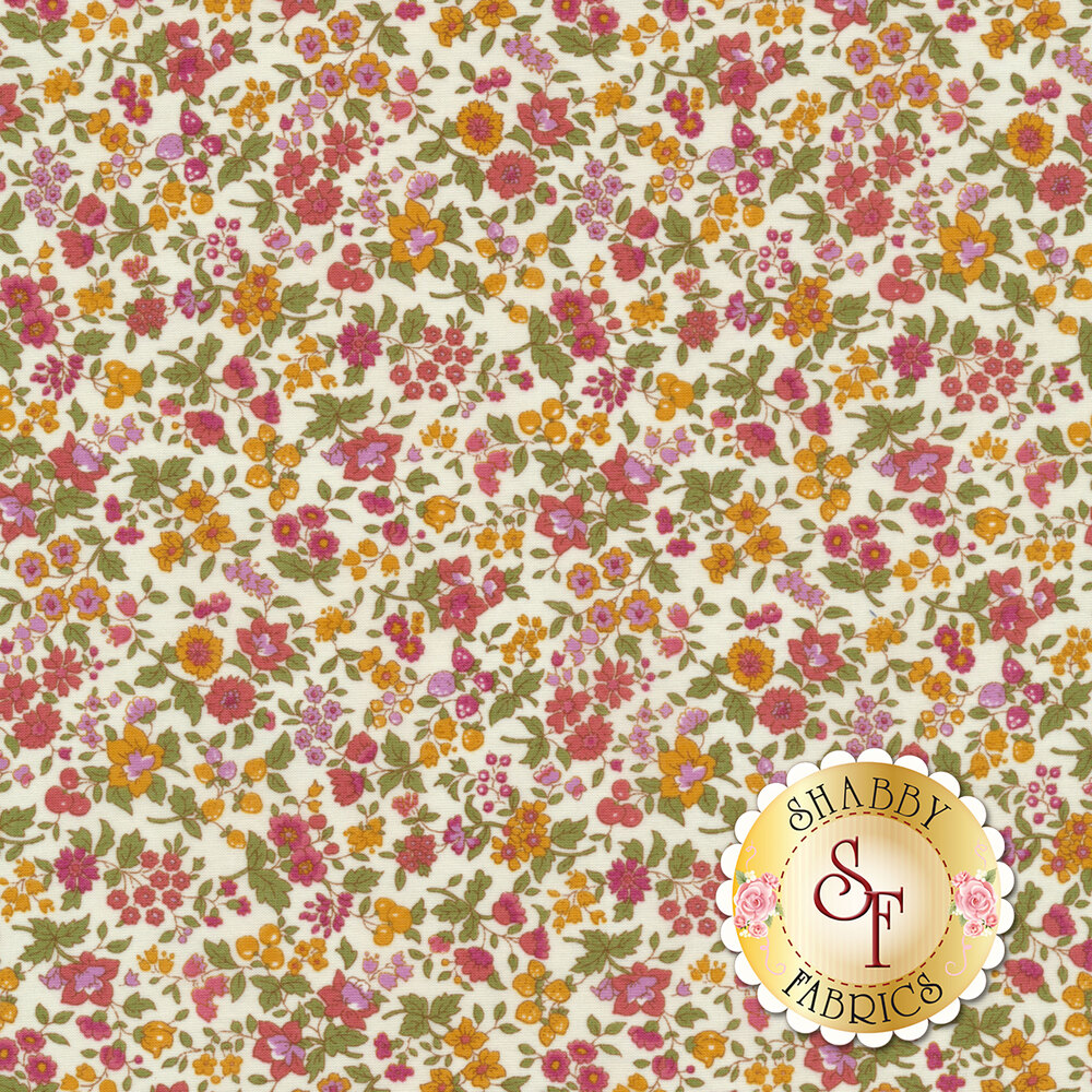 Fabric featuring cute flowers on a white background | Shabby Fabrics