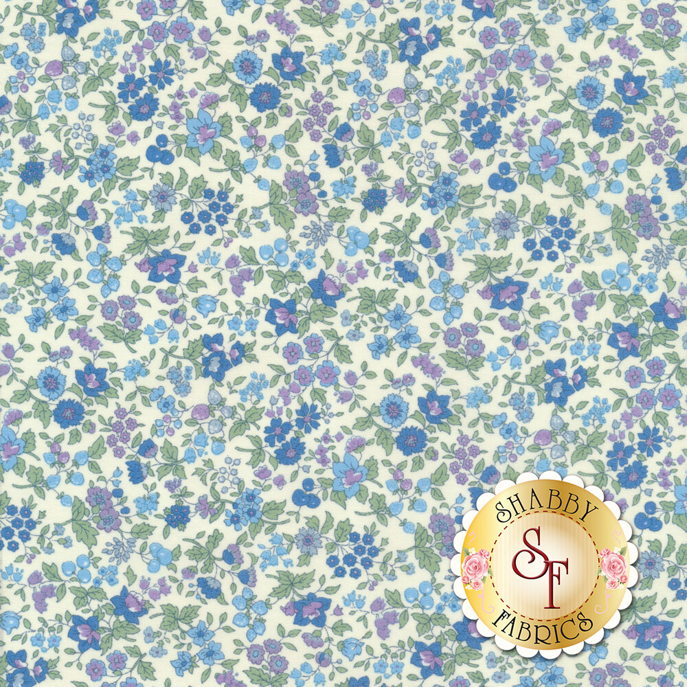 Fabric featuring blue flowers on a white background | Shabby Fabrics