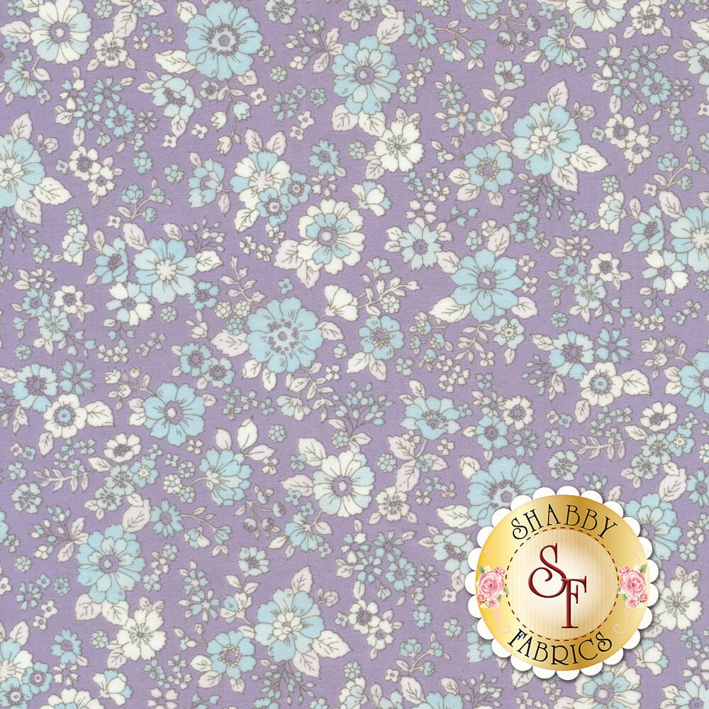 Fabric featuring adorable flowers on a purple background | Shabby Fabrics