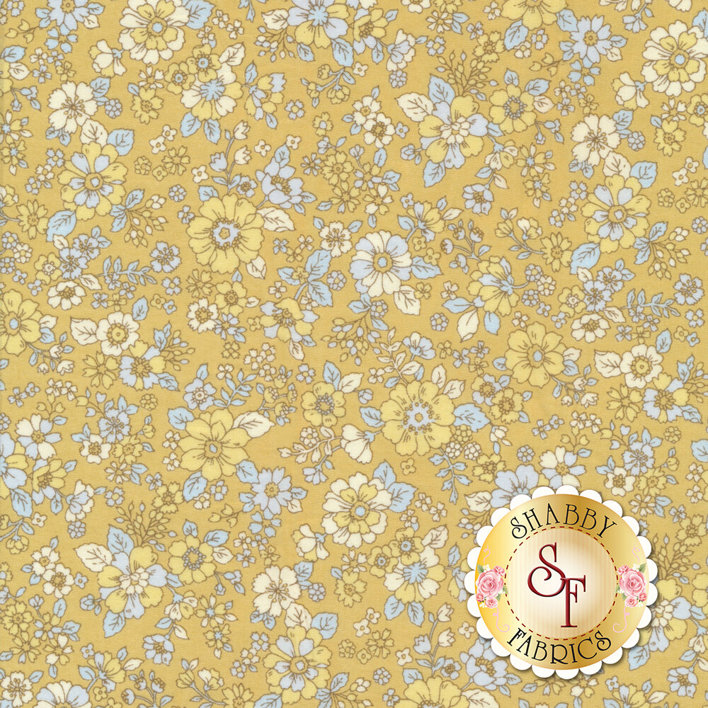 Fabric featuring adorable flowers on a yellow background | Shabby Fabrics