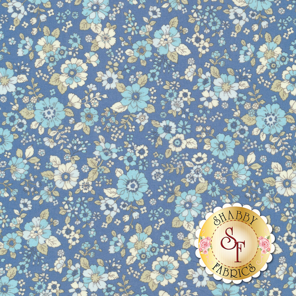 Fabric featuring adorable flowers on a blue background | Shabby Fabrics