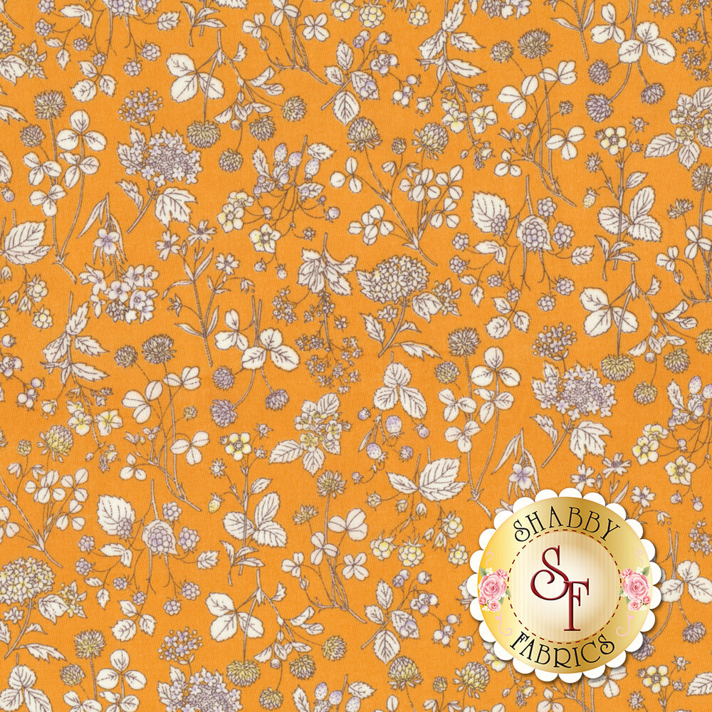 Fabric featuring an assortment of tossed flowers on a yellow background | Shabby Fabrics