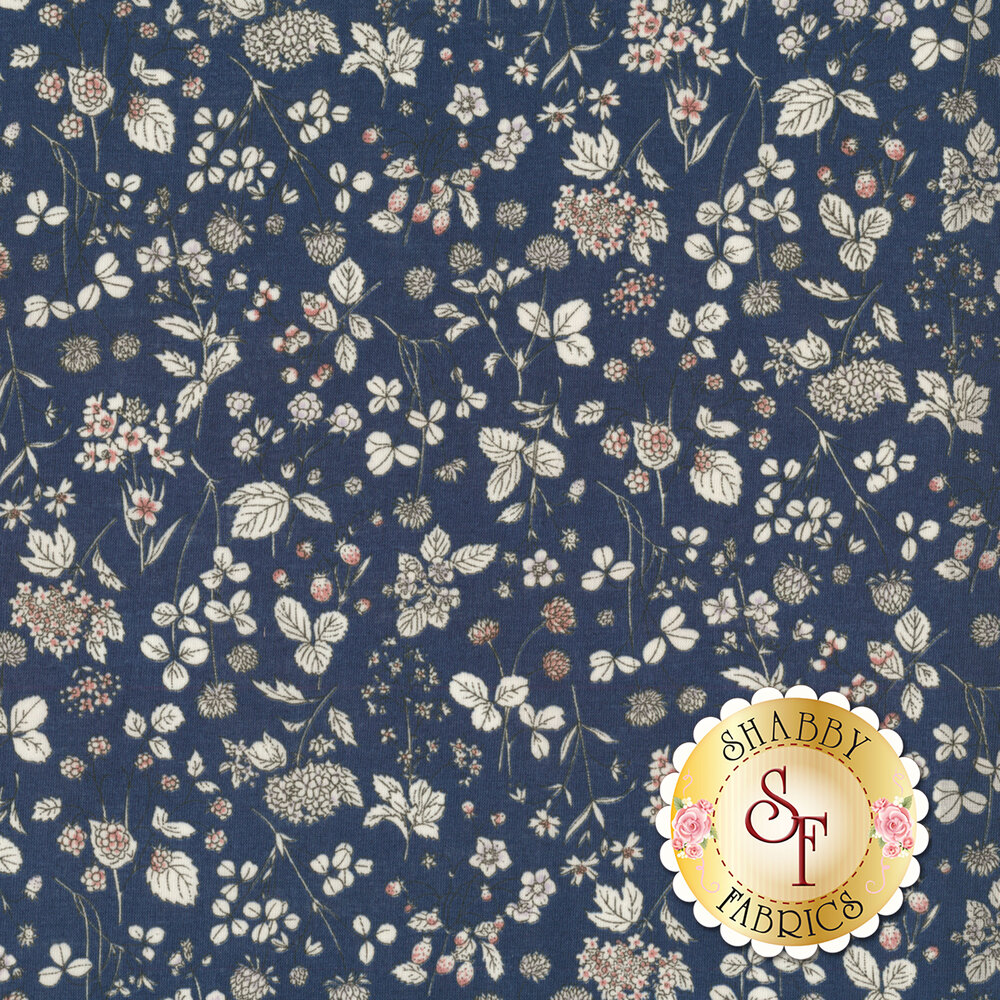 Fabric featuring an assortment of tossed flowers on a navy background | Shabby Fabrics