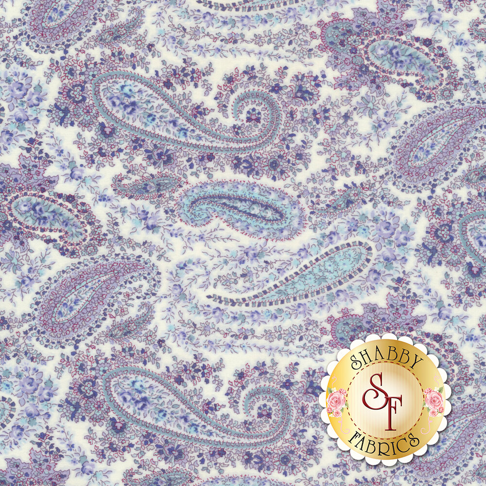 Fabric featuring a classic paisley and floral design on a light purple background | Shabby Fabrics