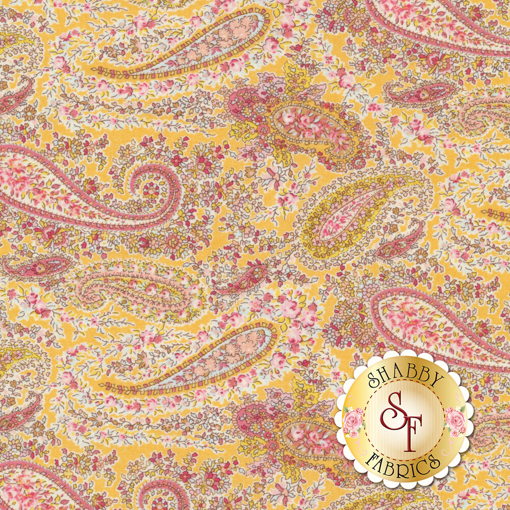 Fabric featuring a classic paisley and floral design on a yellow background | Shabby Fabrics