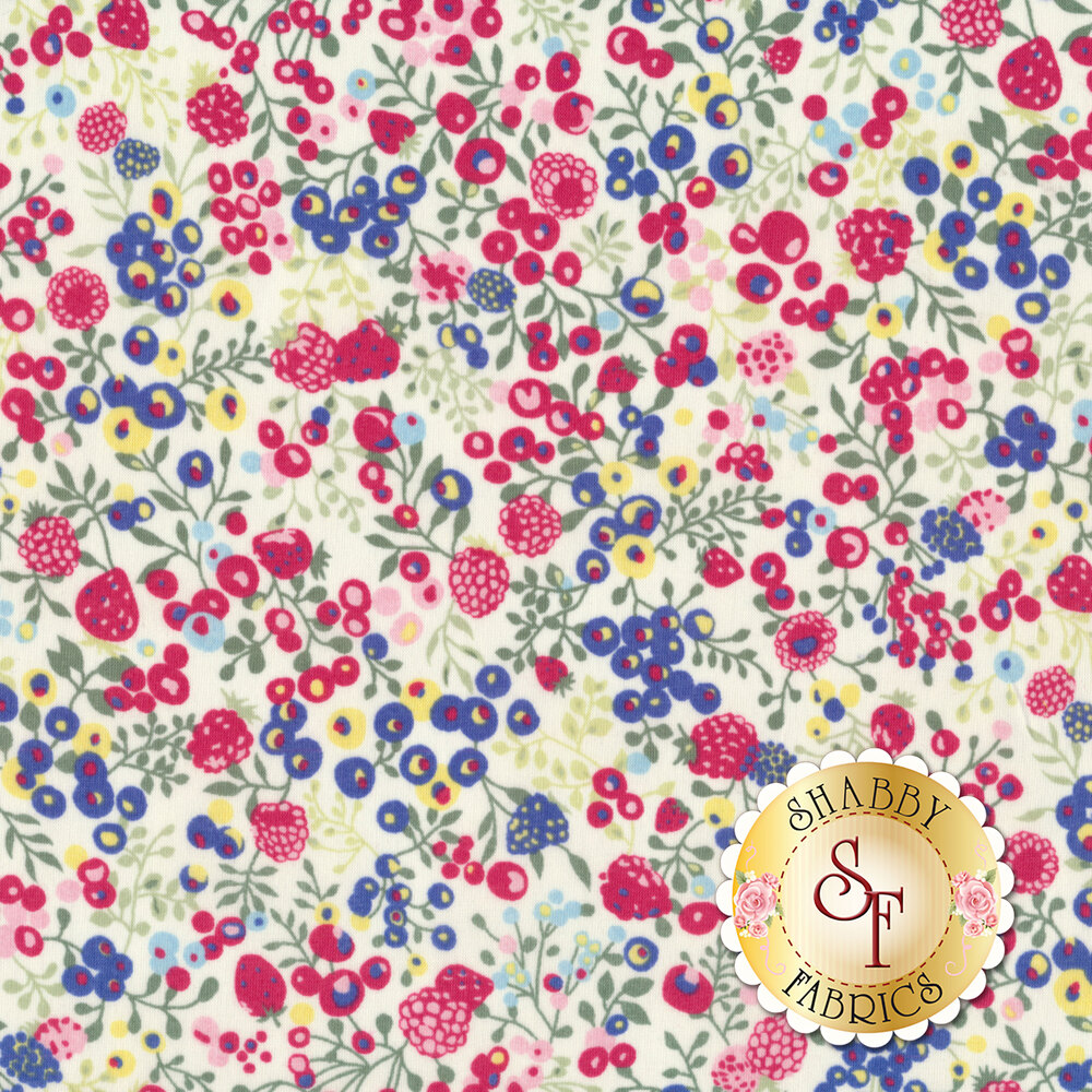 Fabric featuring beautiful multi colored berries and vines | Shabby Fabrics