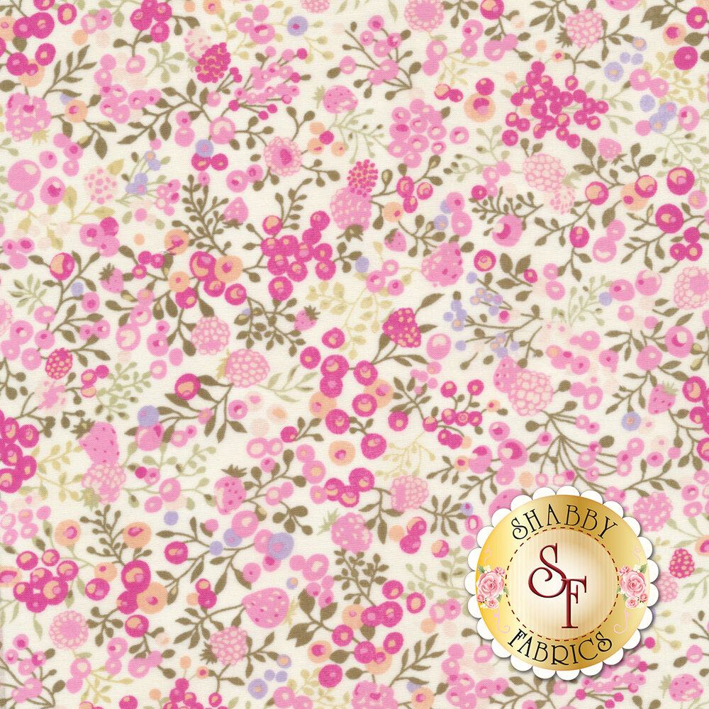 Fabric featuring beautiful pink berries and vines   Shabby Fabrics