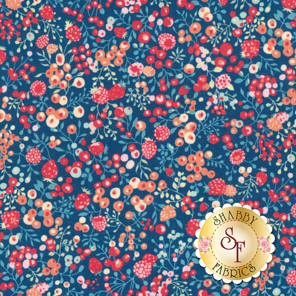 Fabric featuring beautiful pink berries and vines on a blue background | Shabby Fabrics