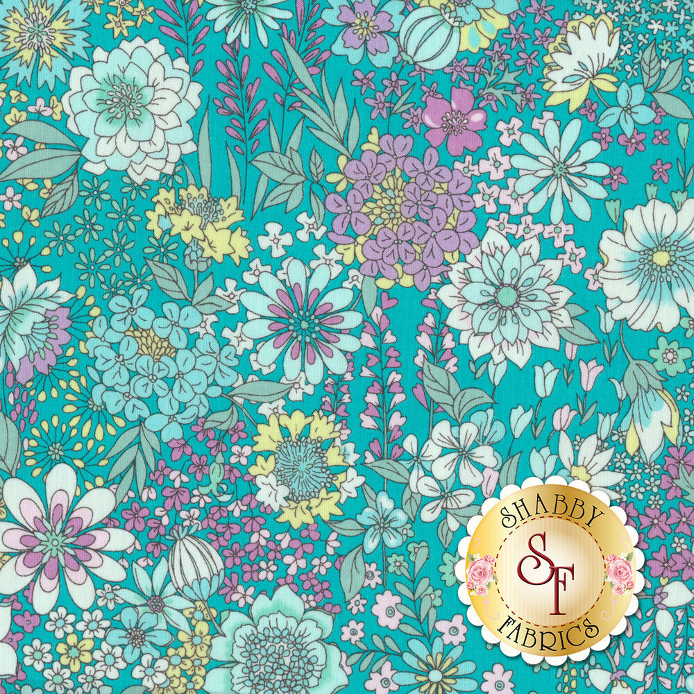 Fabric featuring stunning white and purple flowers on a turquoise background | Shabby Fabrics