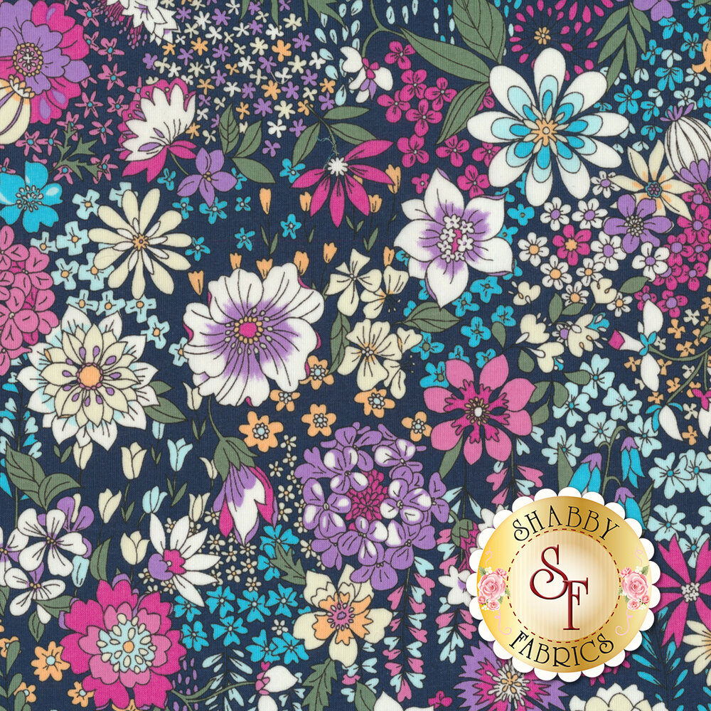 Fabric featuring stunning multi colored flowers on a navy background | Shabby Fabrics