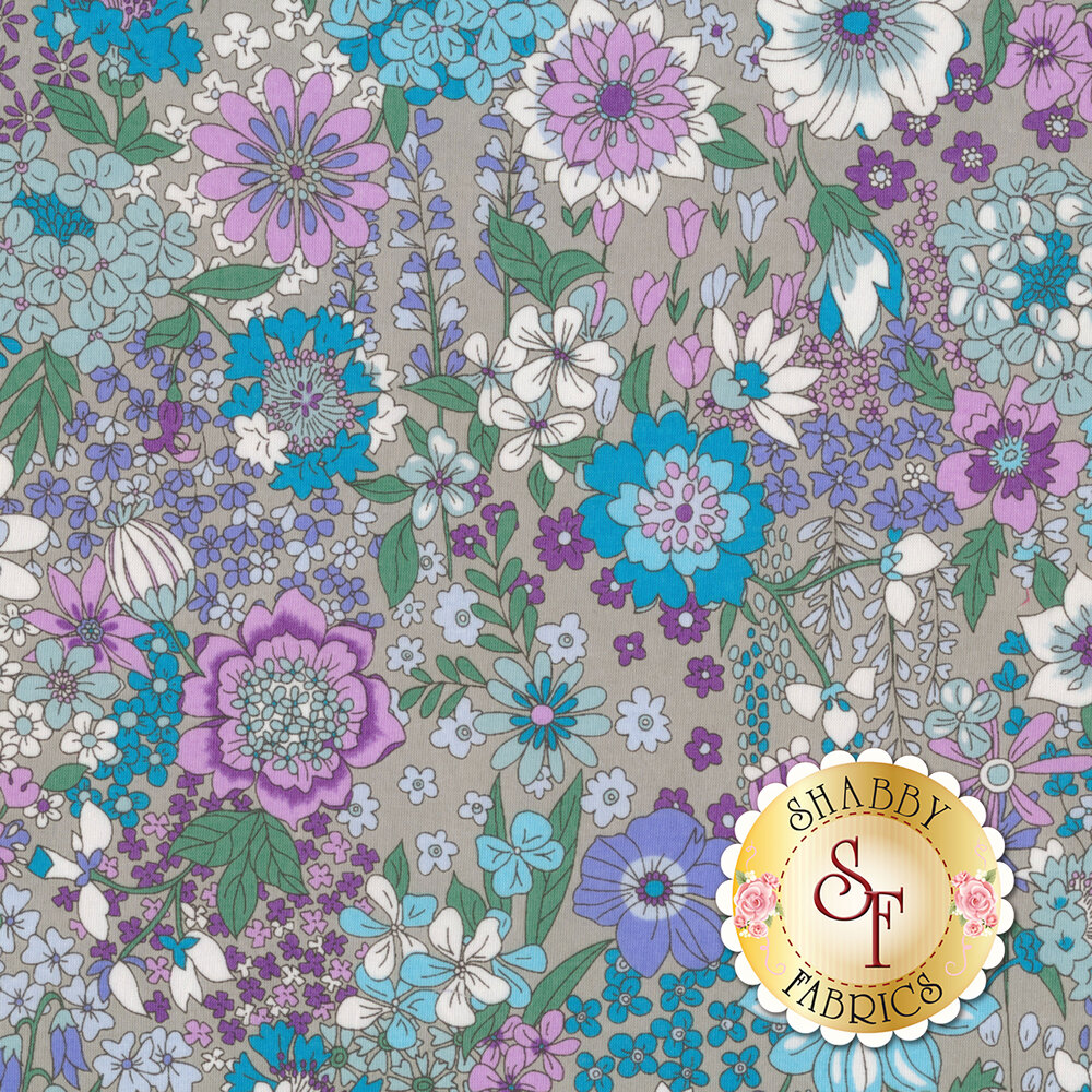 Fabric featuring stunning multi colored flowers on a grey background | Shabby Fabrics