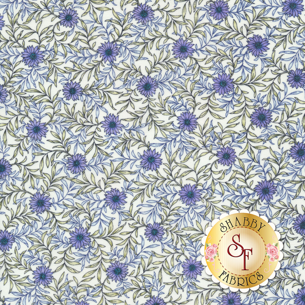 Fabric featuring beautiful daisies and leafy vines on a white background | Shabby Fabrics
