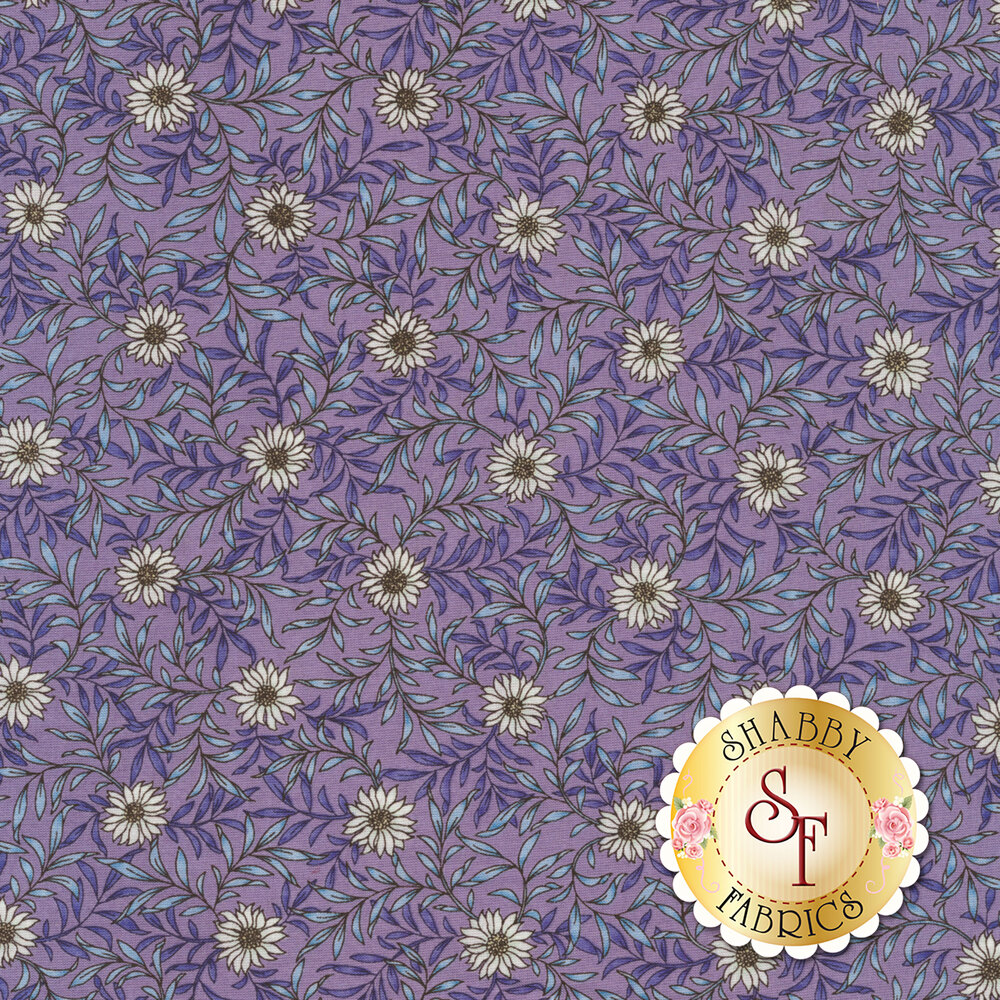 Fabric featuring beautiful daisies and leafy vines on a blue background | Shabby Fabrics