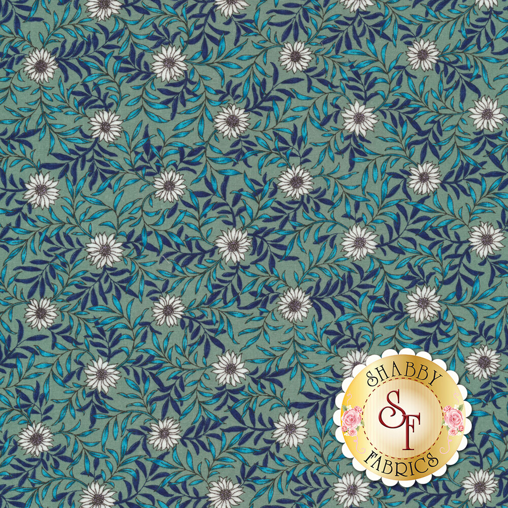 Fabric featuring beautiful daisies and leafy vines on a teal background | Shabby Fabrics