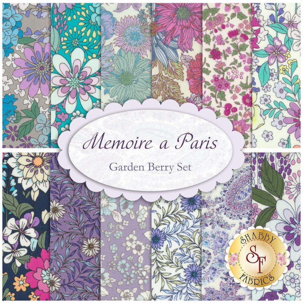 A collage of the Memoire a Paris '19 Garden Berry FQ Set   Shabby Fabrics