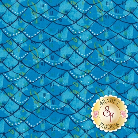 Mermaid Days 112.115.04.2 Scalloped Turquoise by Cori Dantini for Blend Fabrics
