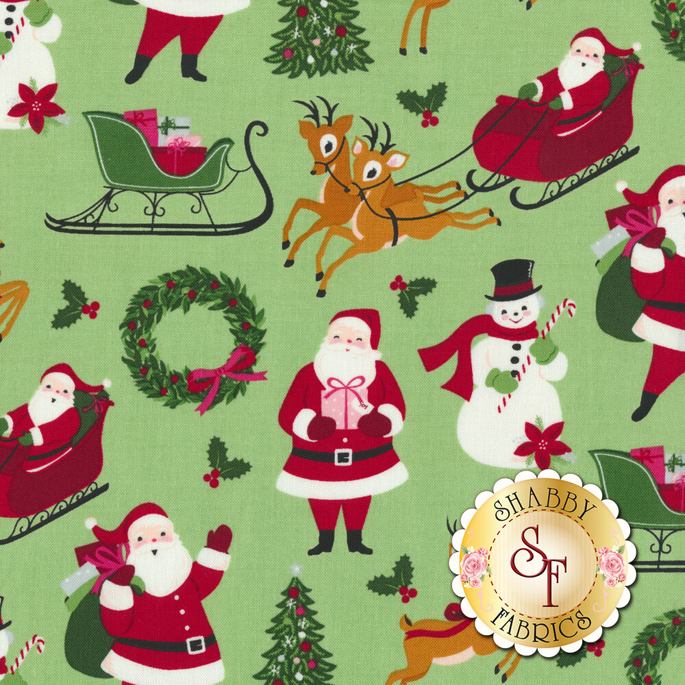 Santa Claus, reindeer, snowmen, and Christmas trees on light green | Shabby Fabrics