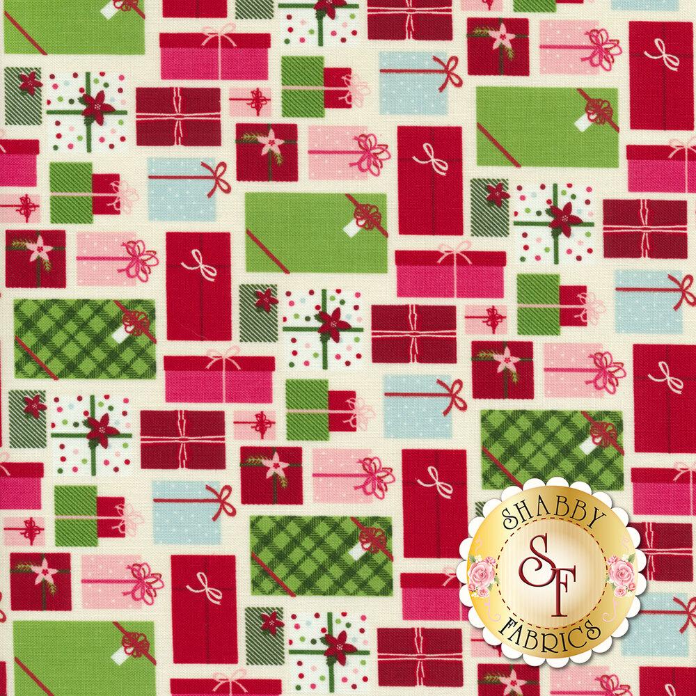 Multicolored Christmas presents on cream   Shabby Fabrics