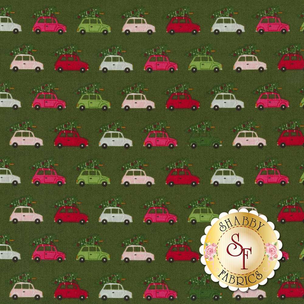 Multicolored cars with trees on dark green | Shabby Fabrics