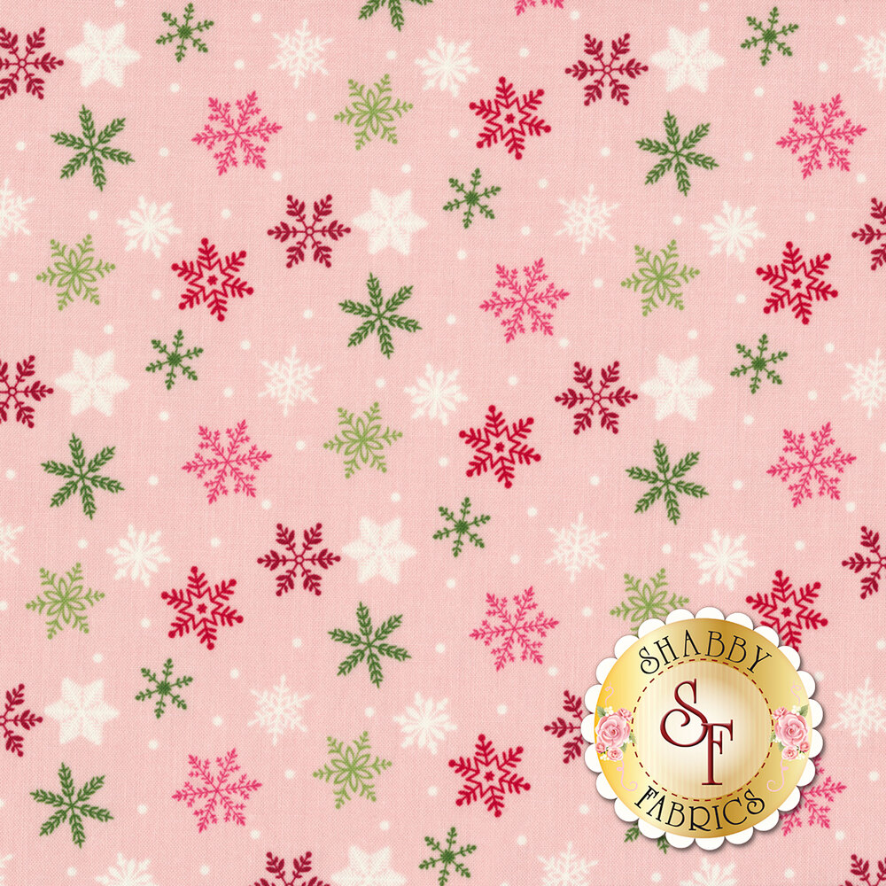 Multicolored snowflakes on pink background   Shabby Fabrics