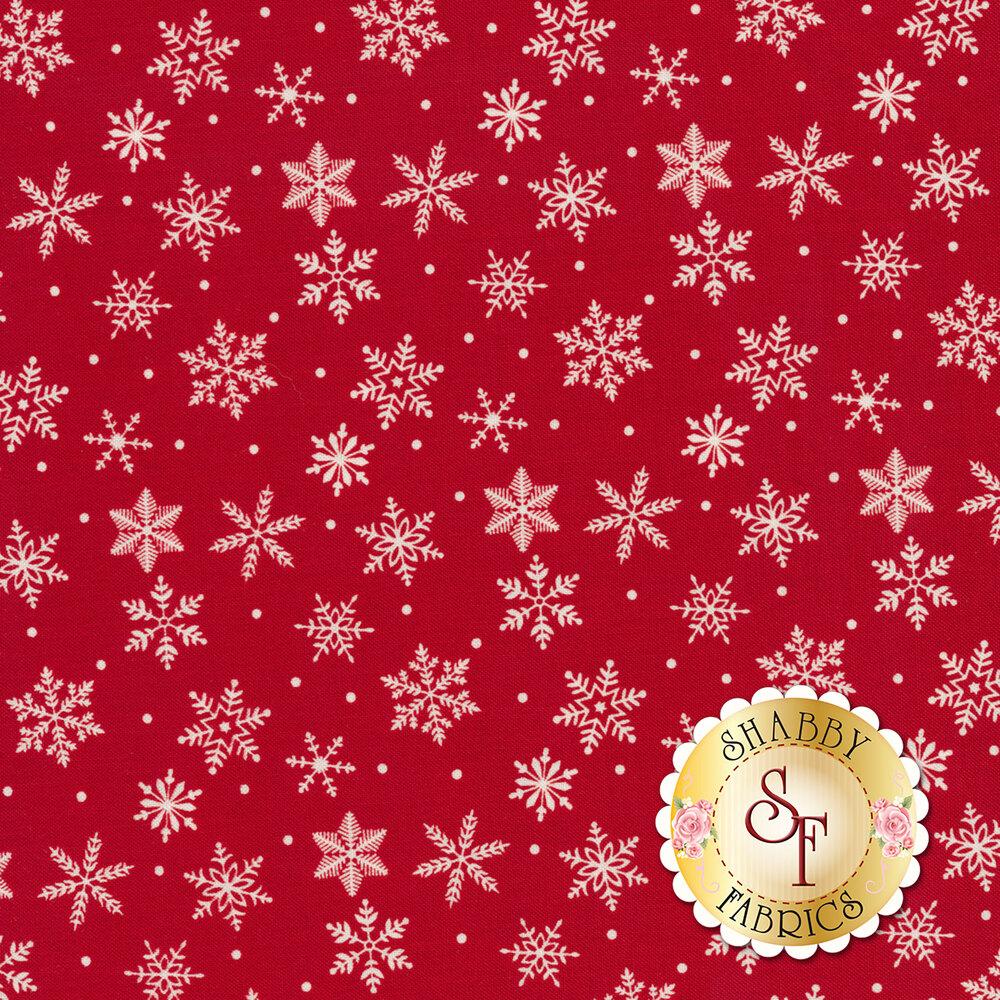 White snowflakes on red background   Shabby Fabrics