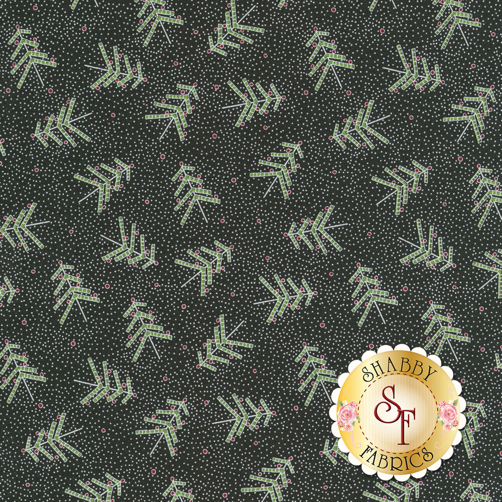 Tossed green Christmas trees and tiny white pin dots all over black background | Shabby Fabrics