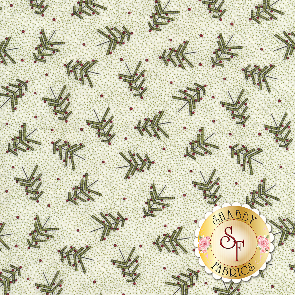Tossed green Christmas trees and tiny green pin dots all over white fabric | Shabby Fabrics