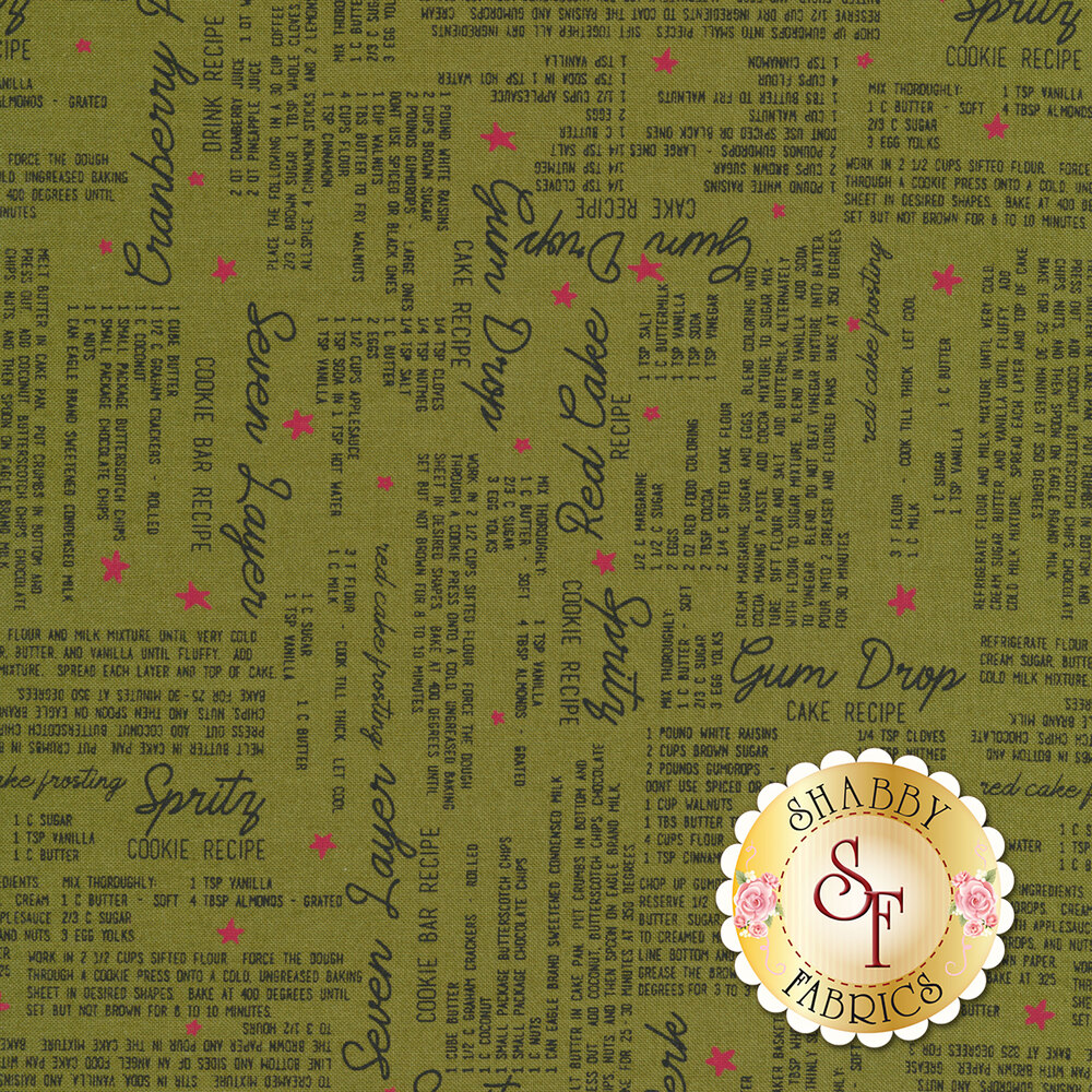 Multiple recipes and stars all over olive green background | Shabby Fabrics