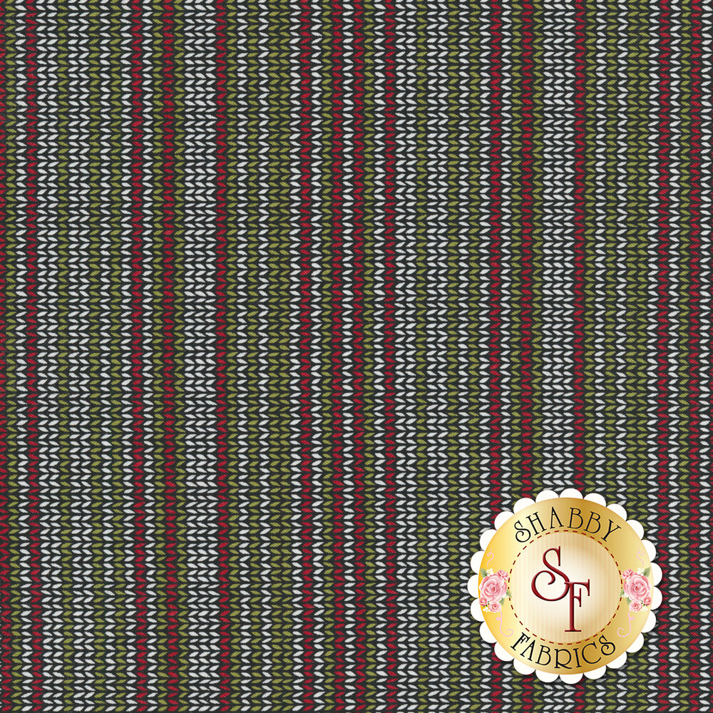 Red, white, and green striped pattern on a black background | Shabby Fabrics