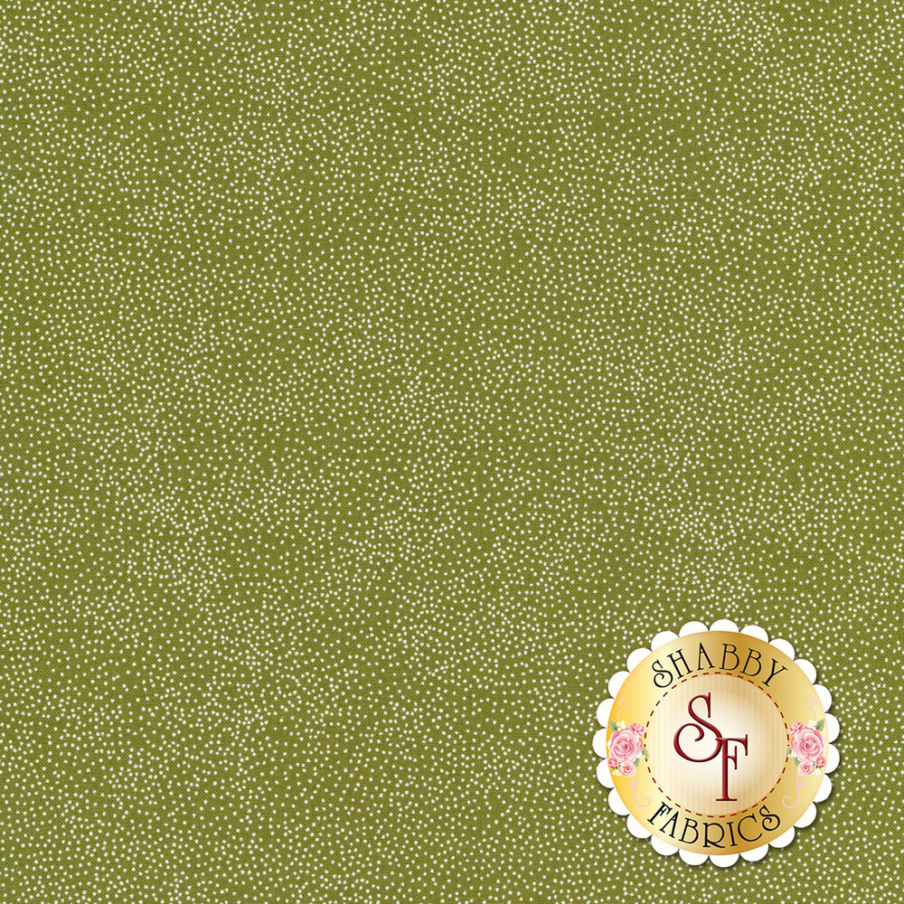 Olive green fabric with small white pin dots all over | Shabby Fabrics