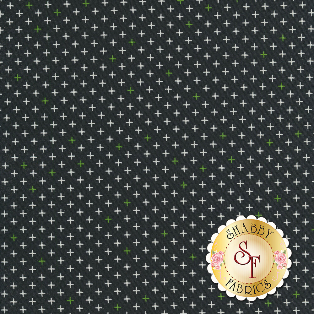Black fabric with green and white crosses all over | Shabby Fabrics