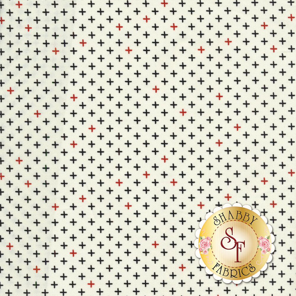 White fabric with black and red crosses all over | Shabby Fabrics