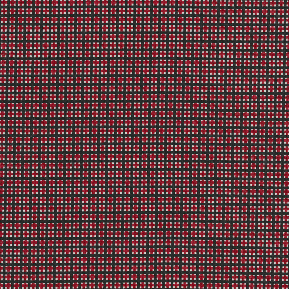 Black crosshatching with red and white boxes in each square | Shabby Fabrics