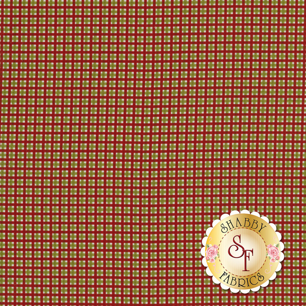 Red crosshatching with green and white boxes in each square | Shabby Fabrics