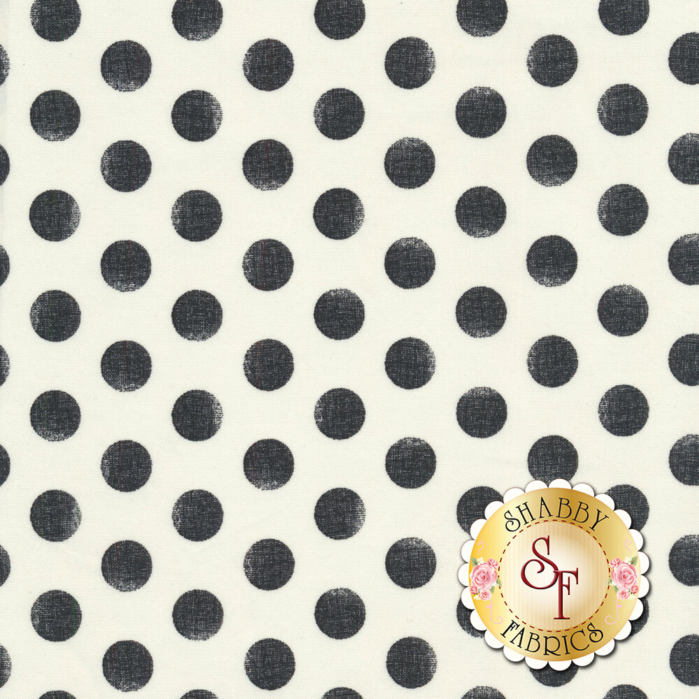 White fabric with black, distressed polka dots all over | Shabby Fabrics