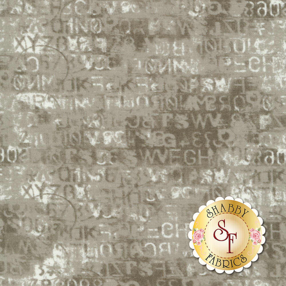 Letters and numbers in mottled gray design   Shabby Fabrics