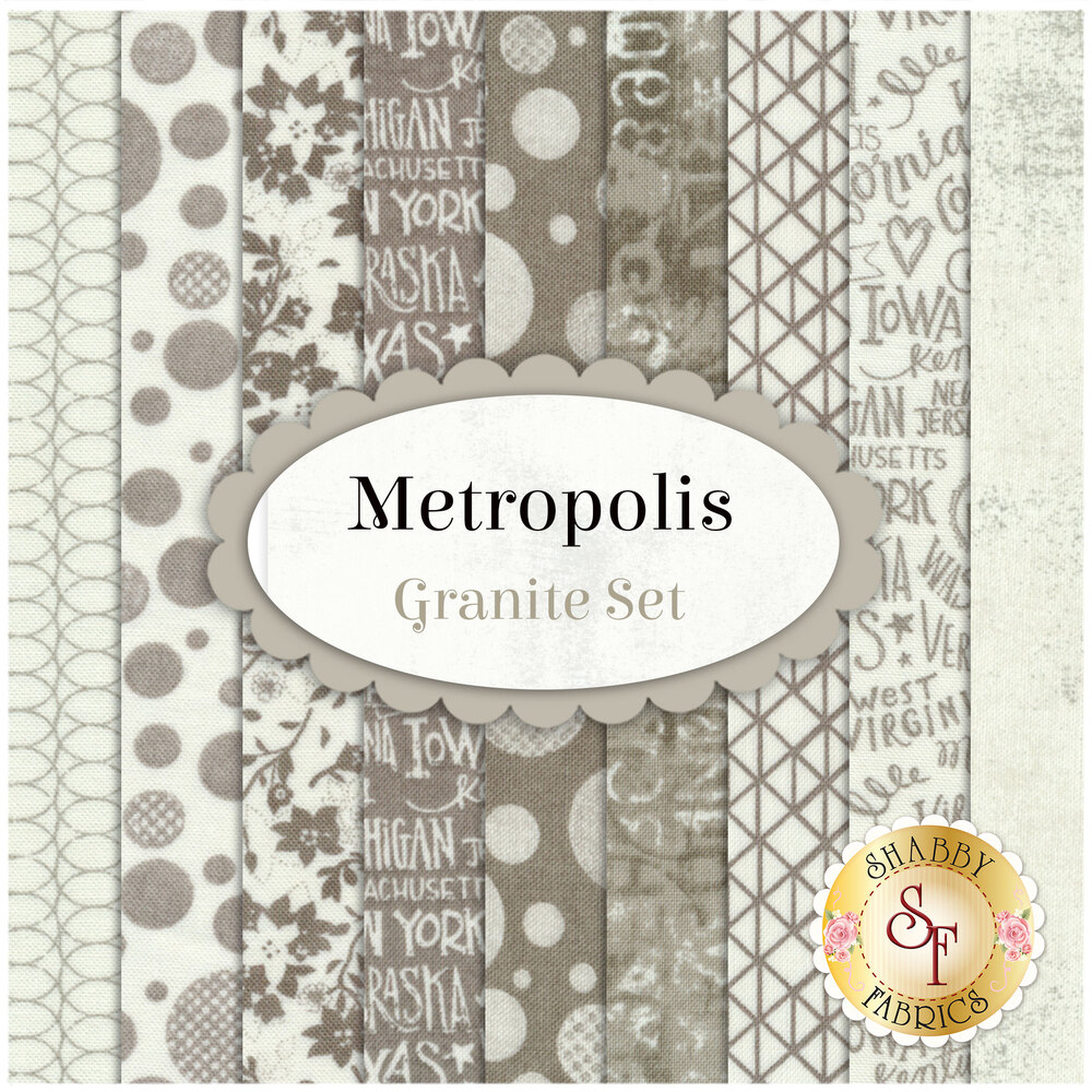 Metropolis  9 FQ Set - Granite Set from Moda Fabrics by BasicGrey
