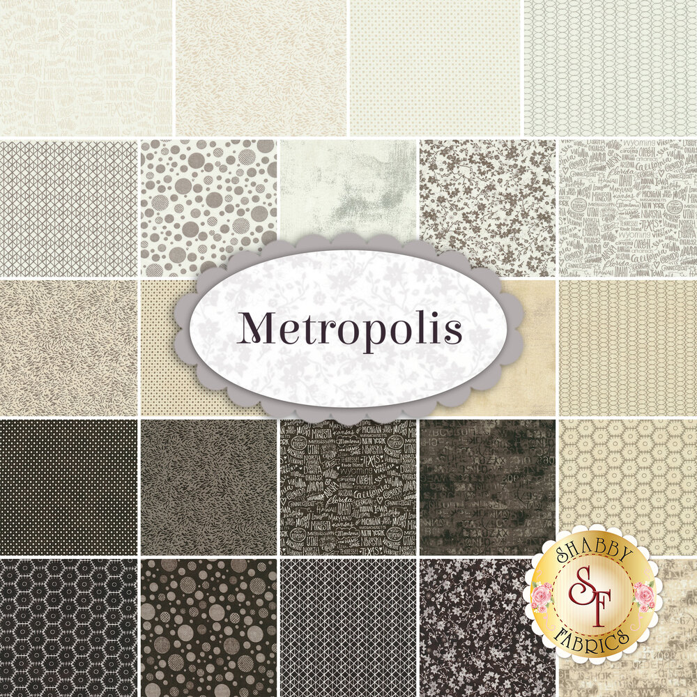 Collage of fabrics in Metropolis 23 One Yard Cut Set | Shabby Fabrics