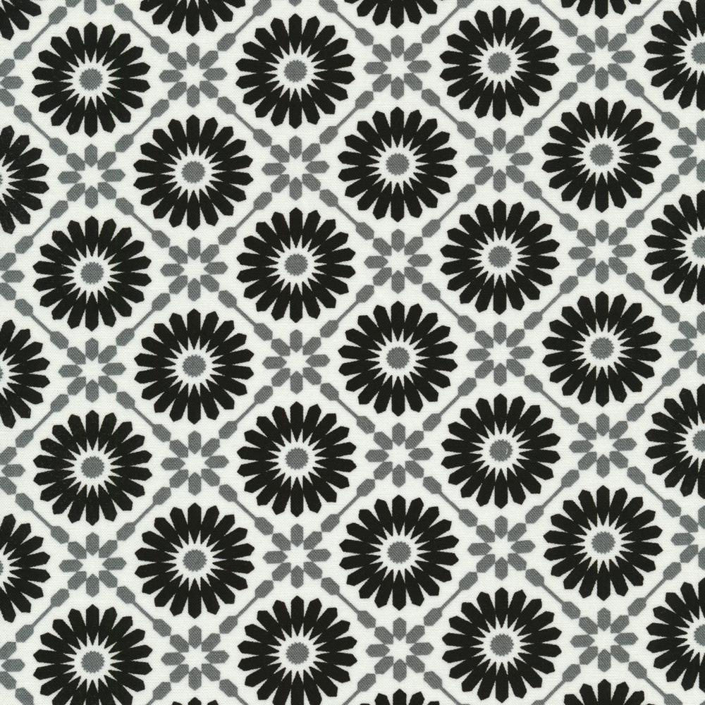 Black and grey geometric stars and diamonds on a white background | Shabby Fabrics