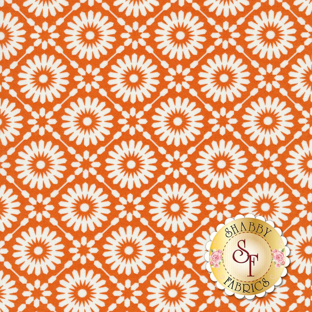 White geometric stars and diamonds on an orange background | Shabby Fabrics