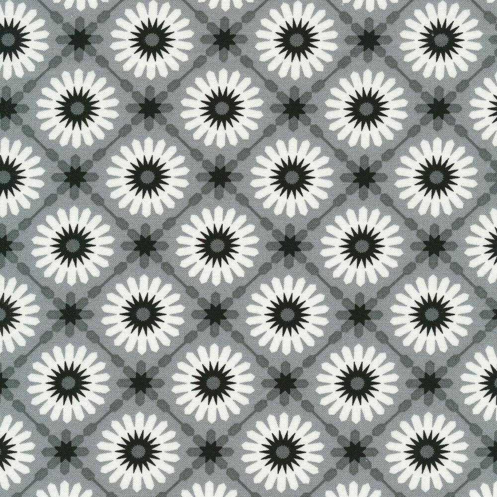 White geometric stars on a grey background | Shabby Fabrics