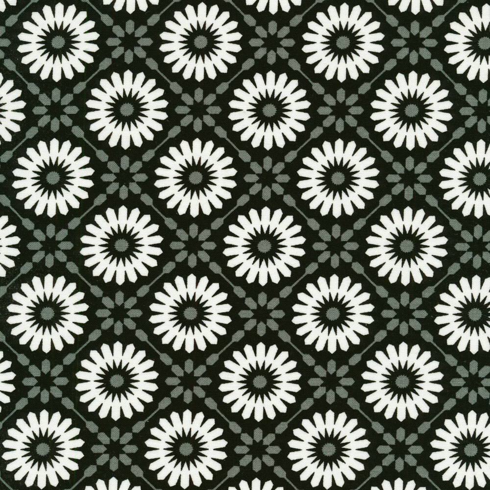 White geometric stars on a black background | Shabby Fabrics