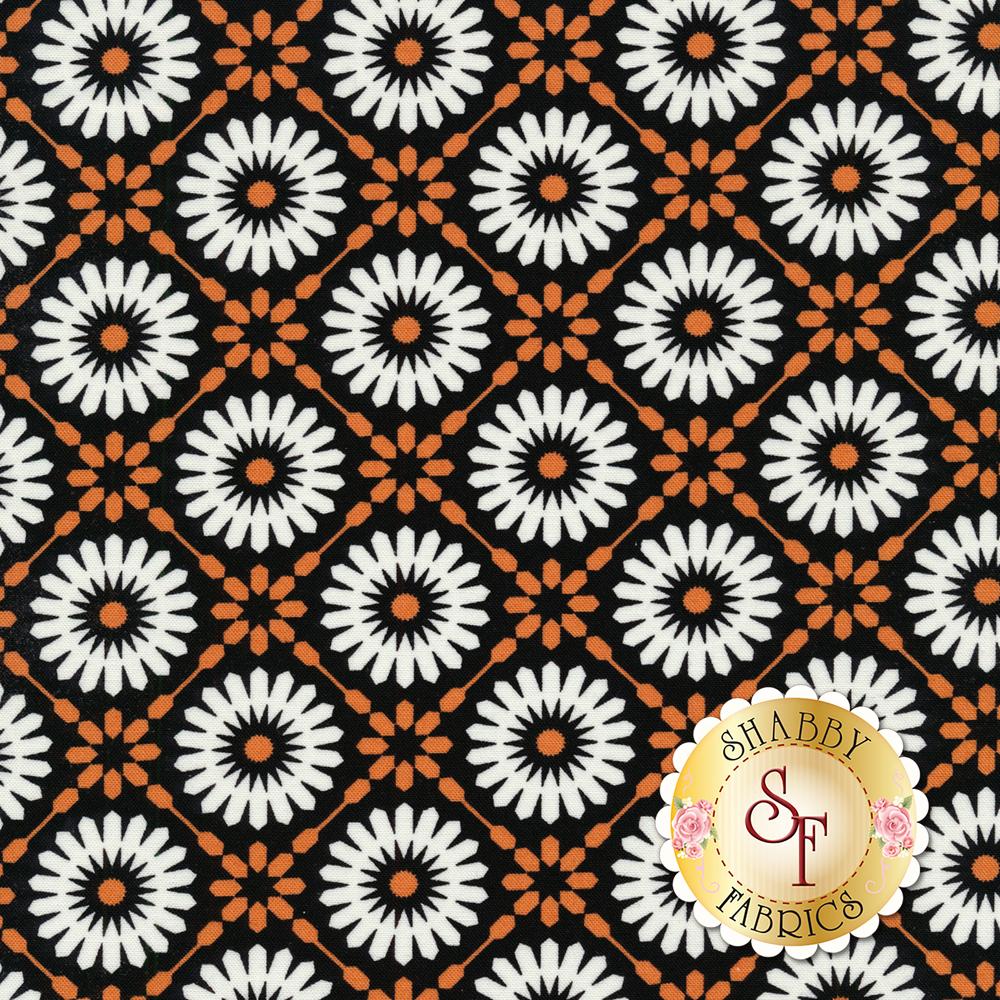 White geometric stars on a black and orange background | Shabby Fabrics