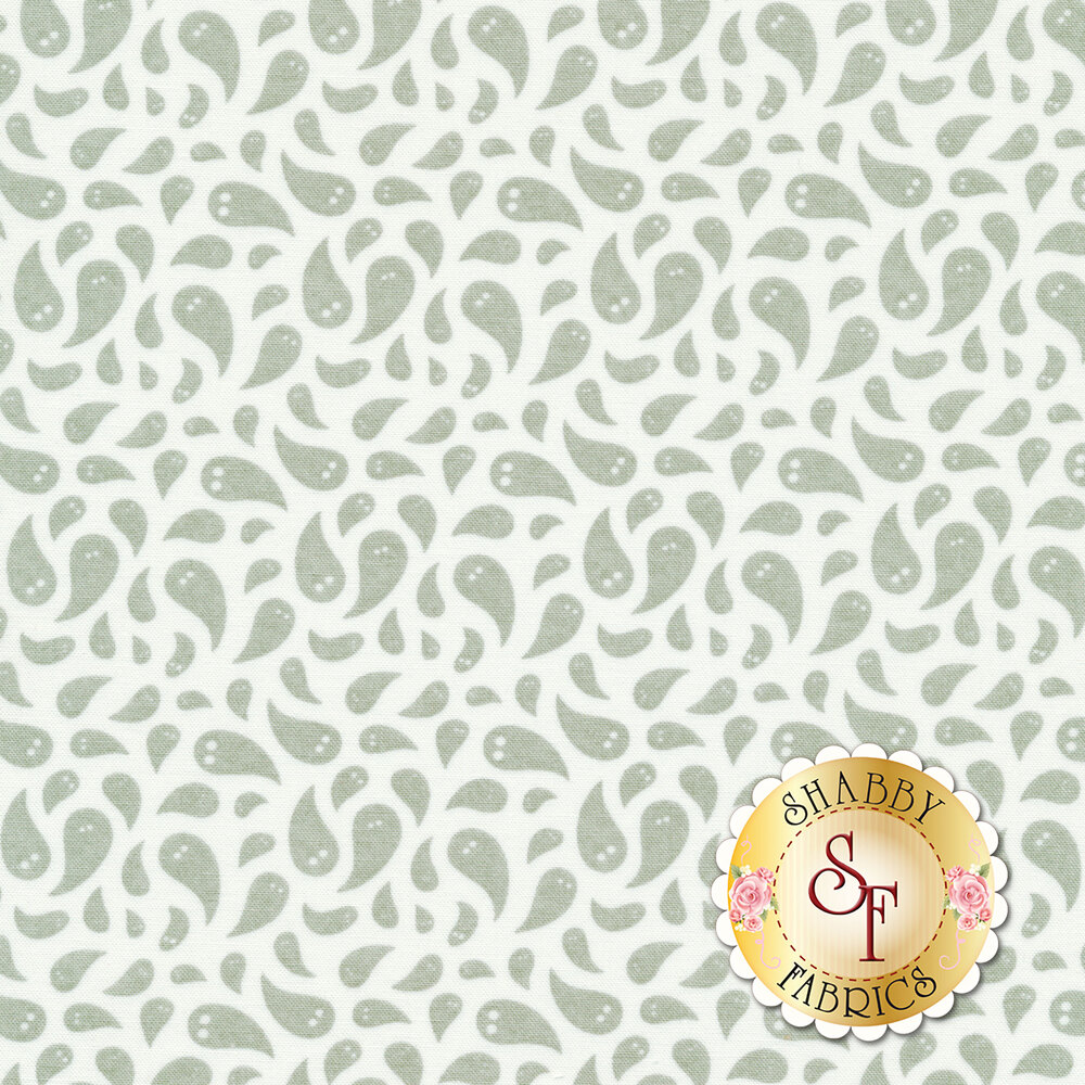 Tossed grey ghosts on a white background   Shabby Fabrics
