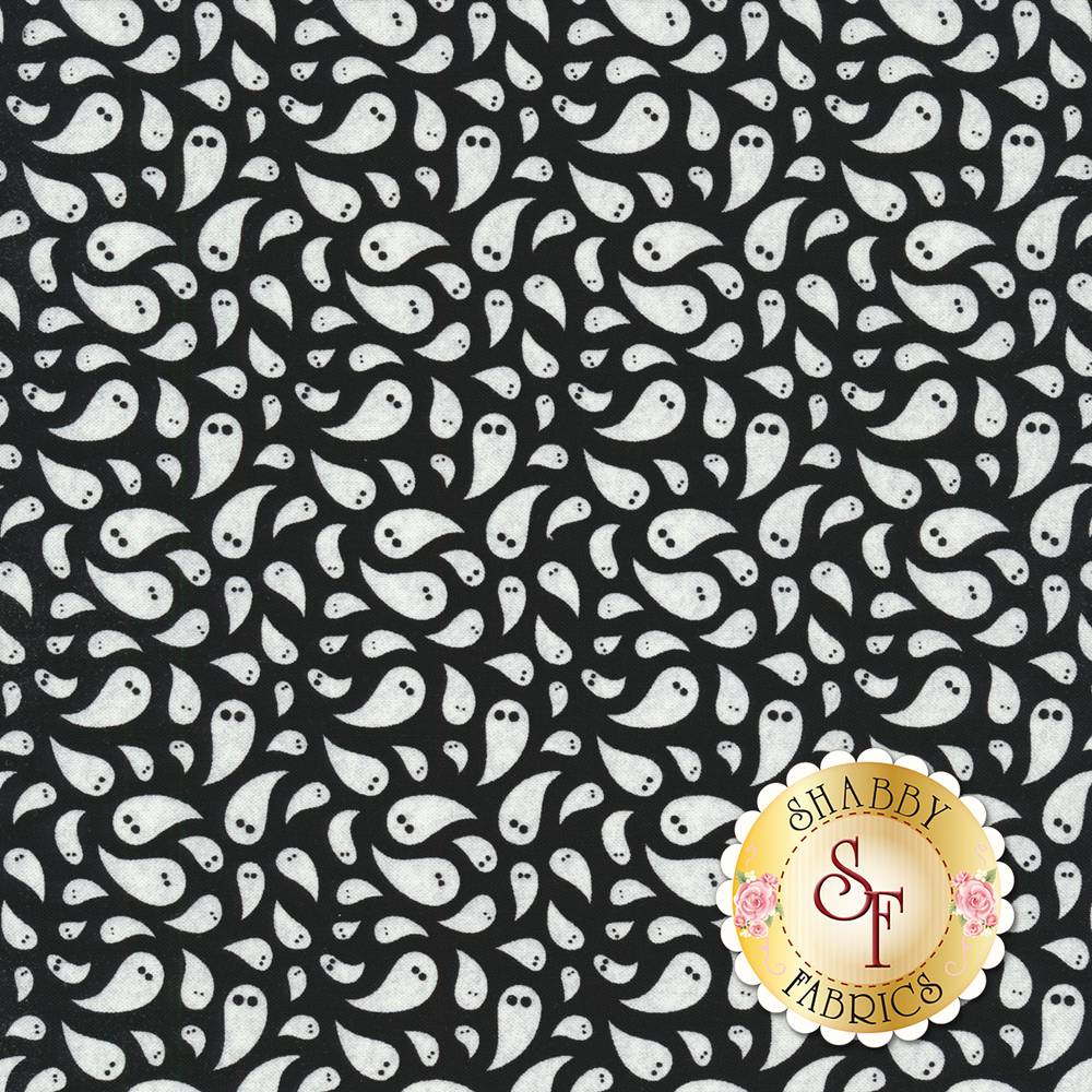 Teardrop shaped ghosts on a black background | Shabby Fabrics