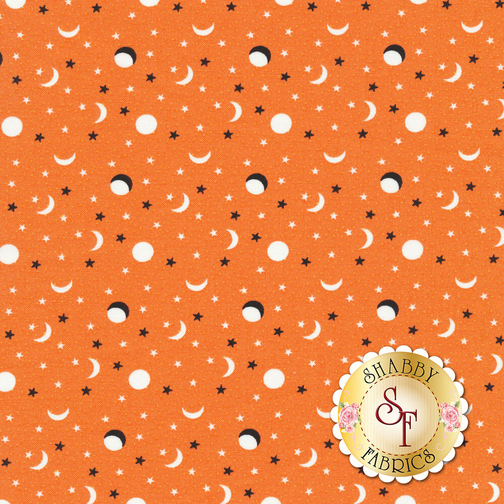 Tossed moons and crescent moons with stars on an orange background | Shabby Fabrics