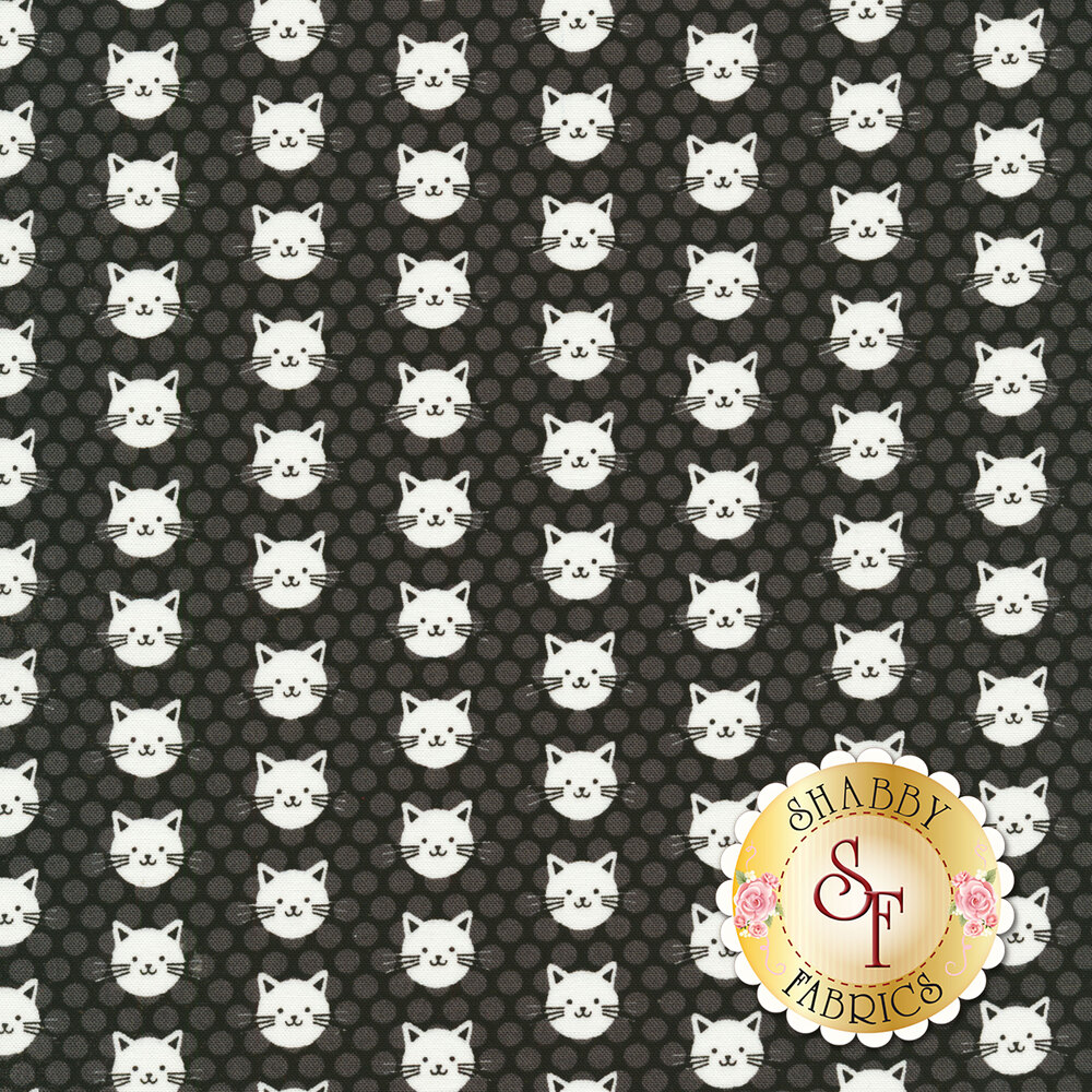 White cats on a tonal grey polka dot background | Shabby Fabrics