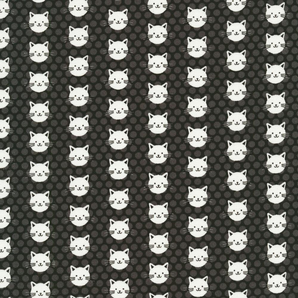 White cats on a tonal grey polka dot background | Shabby Fabrics