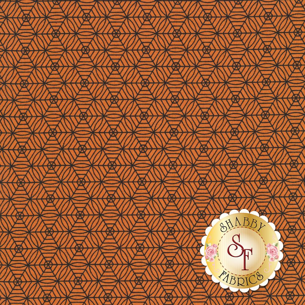 Black and orange geometric spider web print | Shabby Fabrics